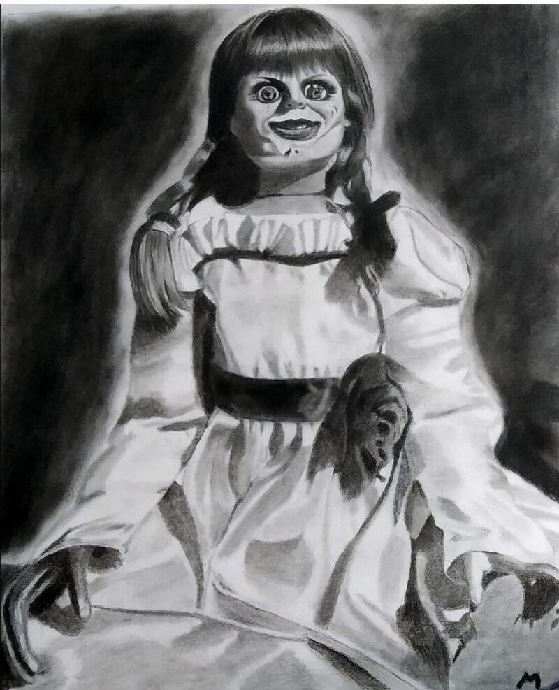 Annabelle Realistic Pencil Sketch - Anil Raikwar Arts