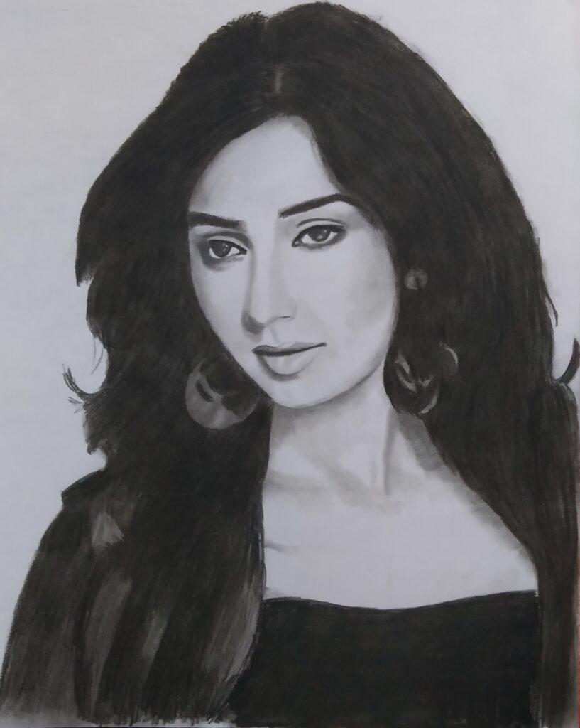 Shreya Ghoshal Pencil Sketch, Sketch artist in gurgaon