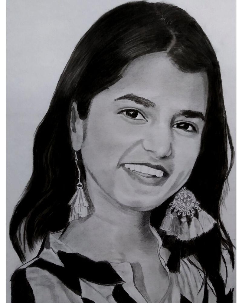 Maithili Thakur Pencil Sketch - Anil Raikwar Arts