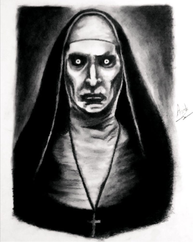 The nun Realistic Pencil Sketch - Anil Raikwar Arts