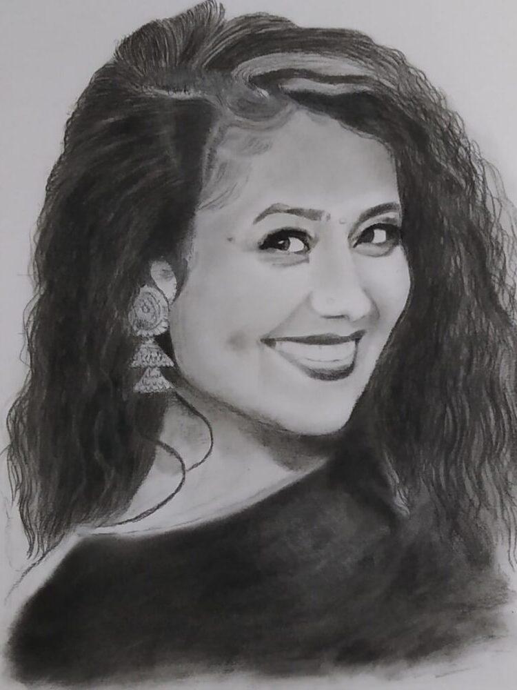 Neha Kakkar Pencil Sketch