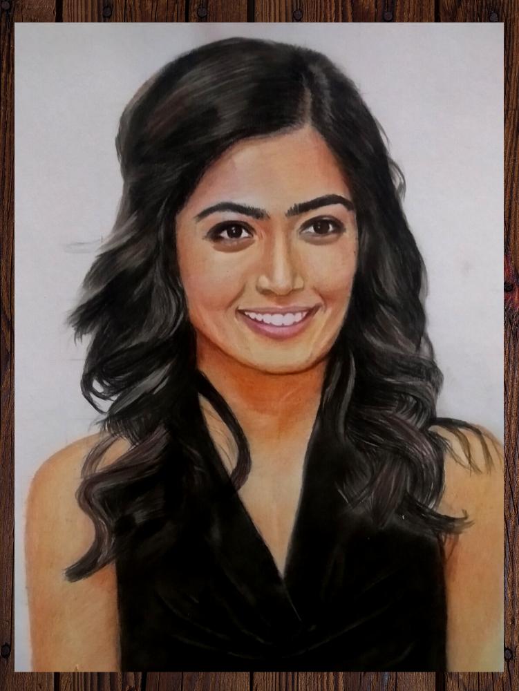 Rashmika Mandanna Coloured Pencil Sketch